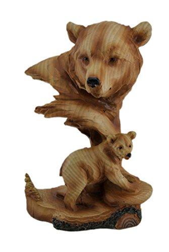 Wild Tiere: Bär Holz geschnitzt Look Mutter Bär und Cub Tischplatte Statue