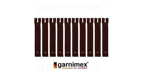 Cerniera 25 cm x 10 Pezzi Non divisibile Colore 36 Marrone Cioccolato Assortito garnimex