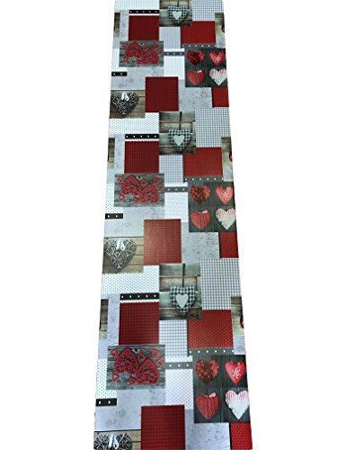 Gemicasa Teppich Küche a Meterware PVC Kunststoff Tischläufer Herzen rot Vinyl