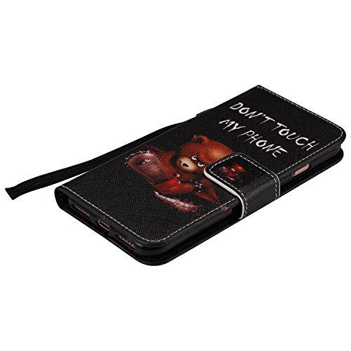 Coque pour iPhone 7, Cozy Hut Élégant Style PU Cuir Flip Magnétique Portefeuille Etui Housse de Protection Coque Étui Case Cover avec Stand Support pour iPhone 7 - Chats et arbre ours