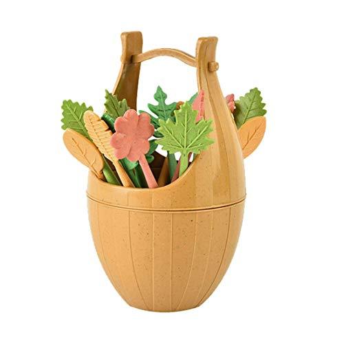Fruit Fork - Est 16pcs Green Biodegradable Wheat Straw Leaves Fruit K Cake Salad Vegetable Ks Picks Table Decor - Picks Color Plastic Disposable Holder Kids Stainless Dessert Fork Children Ste
