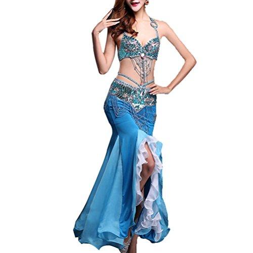 MoLiYanZi Bauchtanz-Rock Performance Chiffon Fischschwanz Bauchtanz-Kleid Set mit glänzender Kante Tanz Kostüme, Lake Water Blue, l