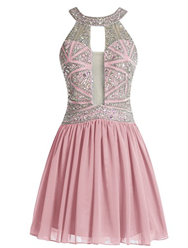 Bbonlinedress Robe courte de soirée de cocktail Robe de bal en mousseline emperlée Blush