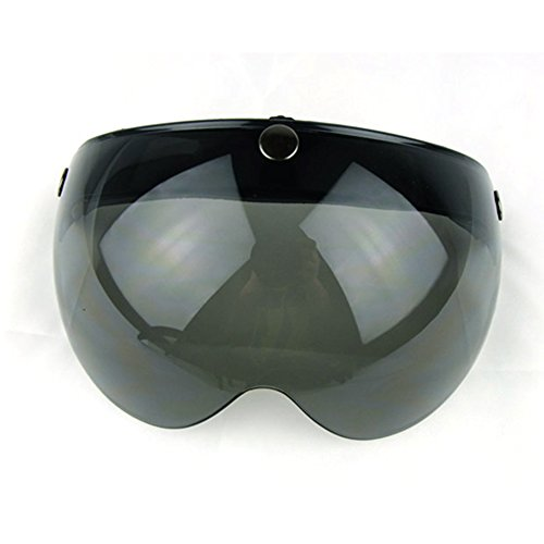 Motorcycle Retro Pilot-Style Open Face Helmet Wind Shield 3 Snap-Button Visor Flip Up Down(Dark Smoke)