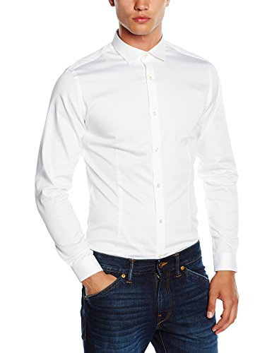 JACK & JONES PREMIUM Herren Slim Fit Business Hemd Jjprparma Shirt L/s NOOS, Gr. Medium, Weiß (White/Super Slim) (Langarm-knopf-front-shirt)