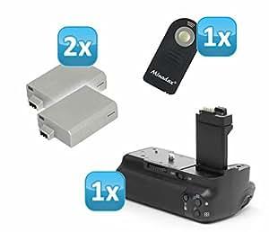 Minadax Batteriegriff für Canon EOS 450D, 500D wie BG-E5 + 2x LP-E5 (wie das Original) + 1x Infrarot Fernbedienung!