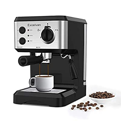 Excelvan 15 Bar Pump Espresso Coffee Maker, Italian Style Coffee Machine with Steam Wand, Measuring Spoon for Hot Drinks, Cappuccino & Home from Excelvan