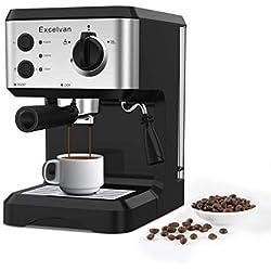 Excelvan Machine à Café 1050W 15 Bars Cafetiere Expresso 1,25 Liter Cafetiere Italienne Pompe Machine à Expresso Noir