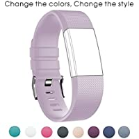 Sunface Bands for Fitbit Charge 2 Accessories - Classic Fitness Wristband Soft Silicone Adjustable Replacement Sport Strap Band for Fitbit Charge 2 Strap