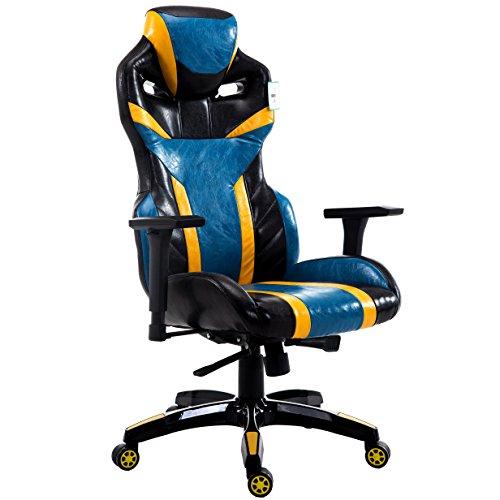 Mit Armlehnen Computer-stühle (CTF Pro Bumble-Bee Hohe Rückenlehne Racing Gaming Computer Bürostuhl Schreibtisch Stuhl mit 3D-Verstellbare Armlehnen blau)
