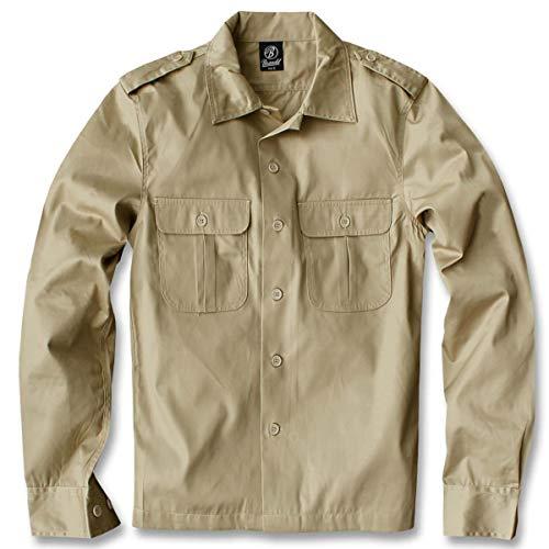 Brandit US Hemd Langarm Beige - S (Herren Shirt Kostüm)