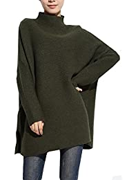 ELLAZHU Femme Chauves-souris Hiver Anorak Solid Fentes Tricot Pull Sweater WO133