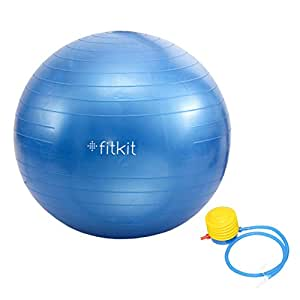 Fitkit FK97403 Anti-Burst Gym Ball with 4.5-inch Foot Pump, Adult 65cm (Blue)