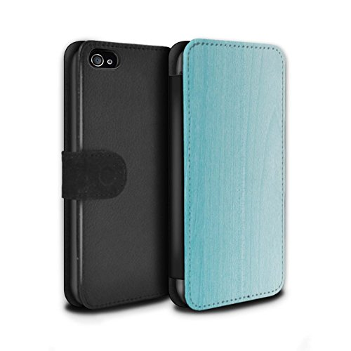 STUFF4 PU-Leder Hülle/Case/Tasche/Cover für Apple iPhone 4/4S / Ombre Holz Muster / Teal Mode Kollektion (Iphone 4 Fälle, Teal)
