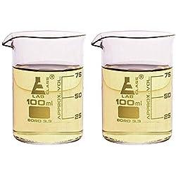 Vaso-Vasos de chupito-3.3oz/100ml doble (Cristal de borosilicato con calidad de laboratorio-Juego de 2