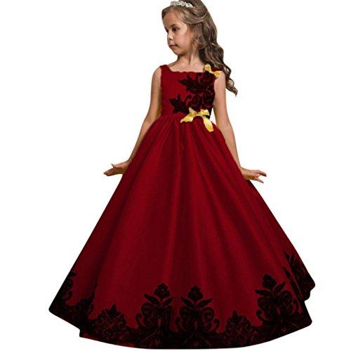 TWBB Mädchen ärmellos Quadratischer Kragen Bestickt Prinzessin Puff Rock (150, rot)