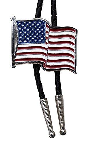 Bolo tie - cravate country western - motif drapeau USA (Taille unique)