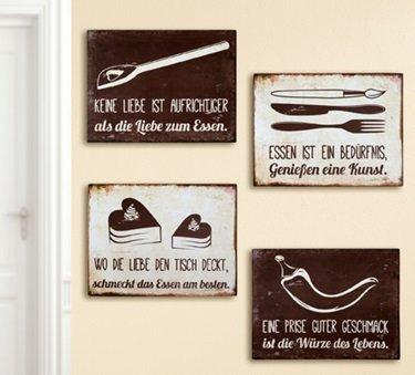 Schild Weisheit Essen mit Spruch: Wo die Liebe den Tisch deckt, schmeckt das Essen am besten Breite 33 cm