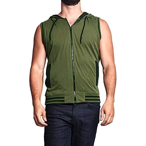 LAsimi Herren T Shirt Herren Weste Jacke Leichte Patchwork äRmellose Kontrast Hoodie(X-Large,Armeegrün) - Kontrast Stitch Denim