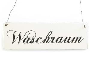 Élément de décoration vintage en bois pour la buanderie inscription style plaque décorative en bois blanc