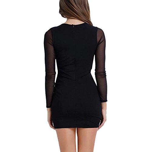 DD UP Damen V-Neck Sexy Frauen Lace Up Langärmlig Elastizität Bodycon Minikleid Black
