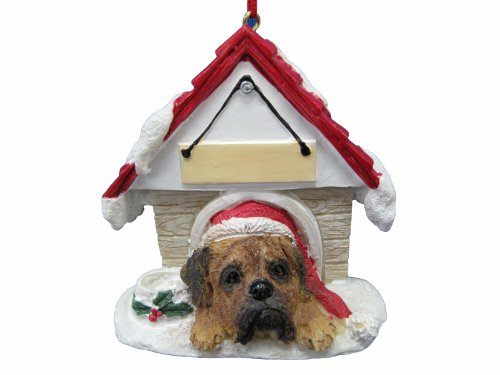 E&S Pets Bullmastiff Ornament EIN tolles Geschenk für Besitzer Bullmastiff handbemalt und einfach personalisierten Doghouse Ornament mit magnetischer Rückseite -