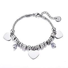 Idea Regalo - Braccialetti Pop-corn per le donne, Bracciale con ciondolo Charm in acciaio inossidabile con Crystal Link Bracciale con braccialetti Gioielli per ragazze Regali per gli amici (#1 Cuore Forma)