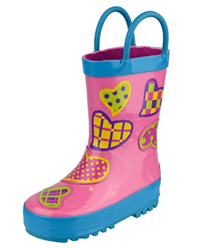 Cotswold Puddle Boot Girls Synthetic Material Wellies Hearts