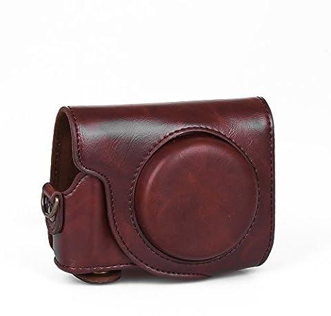Hülle Tasche Etui Leder für Canon G9X dunkelbraun braun
