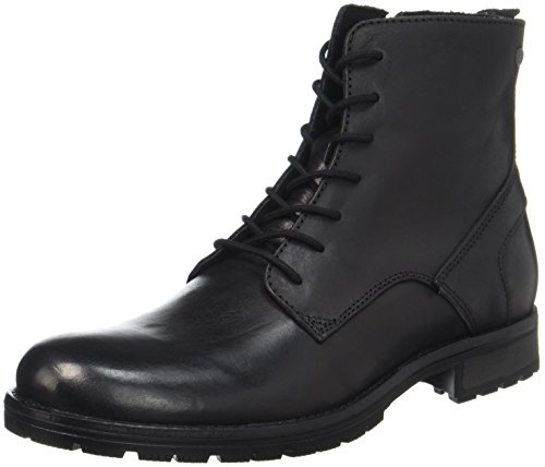 JACK & JONES Herren Jfworca Leather Black Klassische Stiefel, Schwarz (Black Black), 45 EU