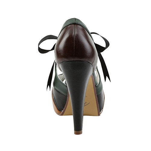 Pin Up Couture BETTIE-19 Brown Multi Faux Leather
