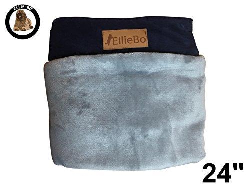 Grau-stack (Ellie-Bo Ersatzbezug für Hundebett aus Cordstoff mit Kunstpelz-Oberseite, 56x 41cm, Gr. S, Blau/Grau)