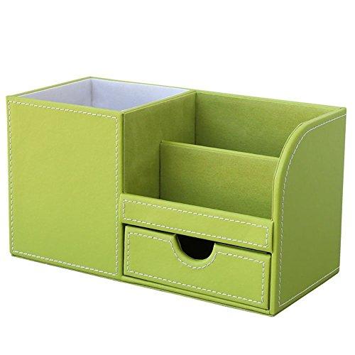 KINGFOM Büro Schreibtisch Organizer Ordnungssystem 4 Speicherabteil PU Leder Stiftebox Stifteköcher Bürobedarf (Grün)