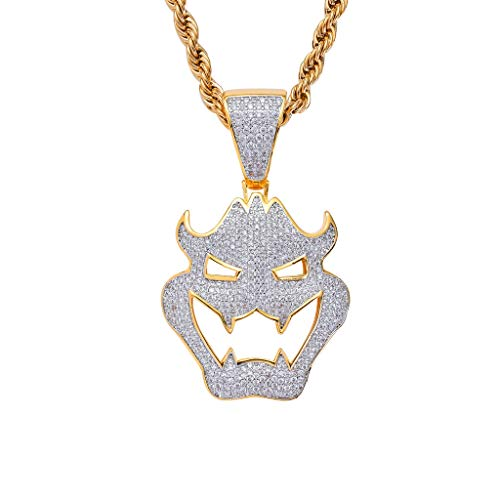 Anhänger Halskette, Maske Vampire Monster Anhänger Halskette, Halloween Dress Up Schmuck Edelstahl Seil Kette Ice Out Halskette Mode-Accessoires Geschenke ()