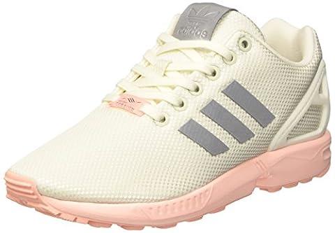 adidas ZX Flux, Baskets Basses Femme, Blanc (Ftwr White/Metallic Silver-Sld/Haze Coral), 39 1/3 EU