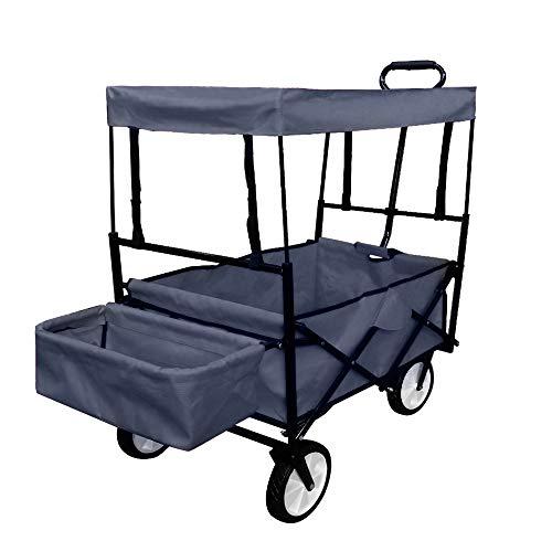 UISEBRT Bollerwagen faltbar mit Dach - Handwagen Gartenwagen Transportwagen Strandwagen Vorderräder 360°drehbar 120x55x110cm (Mit Dach,Blau)