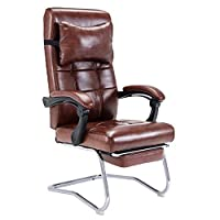 ADHKCF High-Back PC Racing Gaming Chair Headrest Lumbar Massager Cushion Ergonomic Swivel Desk Chair With Retractable Footrest PU Leather Recliner (color : BROWN, Material : First layer cowhide-A)