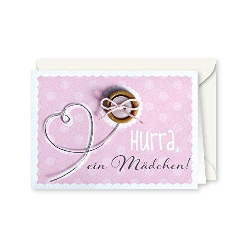 Knopfkarte 63 - Hurra, ein Mädchen! - Geburt - Mini-Karte
