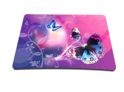 Luxburg® Design tappetino Mouse mousepad, motivo: Farfalle e luce rosa