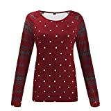 GreatestPAK Weihnachten,Pullover Damen Lange Ärmel Schneeflocke Print Langarm Wild Basis Oberteile Sweatshirt, rot,XXL