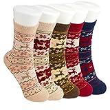 #3: Krystle Women Ladies Girls Thick Winter Socks Warm Wool Christmas Novelty Angora Socks (Pack of 5 socks only)