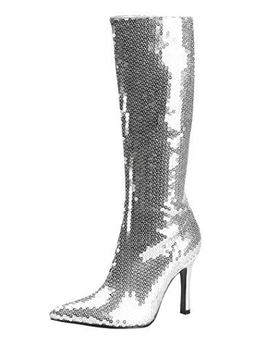 Funtasma Disco Stiefel mit Pailletten- Lust-2001 Silber Gr. 39
