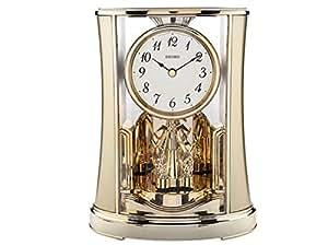 Seiko Horloge de cheminée avec pendule rotative, finition or