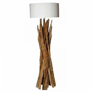 Lampadaire bois flotté naturel abat-jour blanc JARAI