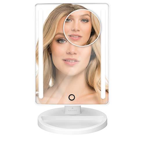 Navaris Set de Espejos de Maquillaje con luz LED - Espejo cosmético Giratorio 2 en 1 Incluye...