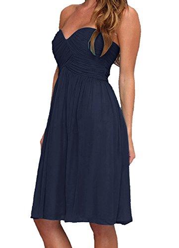 Find Dress Femme Sexy Robe de Soirée/Cocktail/Cérémonie Robe Col en Cœur Lacet sans Manches Courte en Mousseline de Soie Marine Foncé
