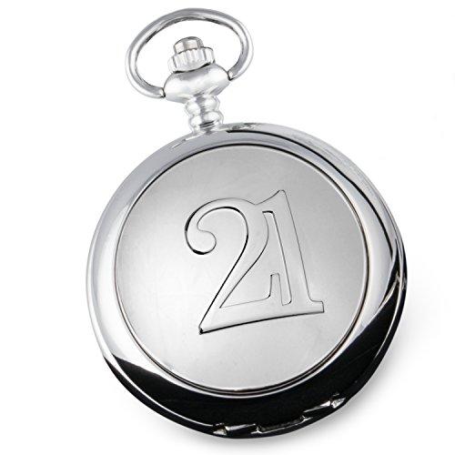 De Walden Herren zum 21. Geburtstag Geschenk Qualität Taschenuhr mit \'21\' Funktion Fall Front in einer Marken Satin gefüttert Geschenkbox