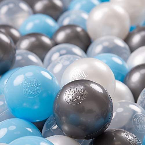 KiddyMoon 100 ∅ 7Cm Kinder Bälle Spielbälle Für Bällebad Baby Plastikbälle Made In EU, Transparent Silber Perle Baby Blau