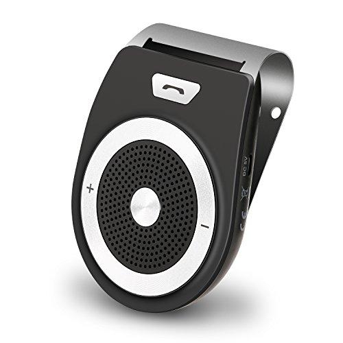 AUTOO Kit Mains Libres sans fil pour Voiture Bluetooth, Alimentation automatique avec capteur de mouvement intégré, Récepteur de haut-parleur pour visière de voiture pour une conduite sécurisée, support des appels, GPS, musique, permet 2 téléphones simultanément