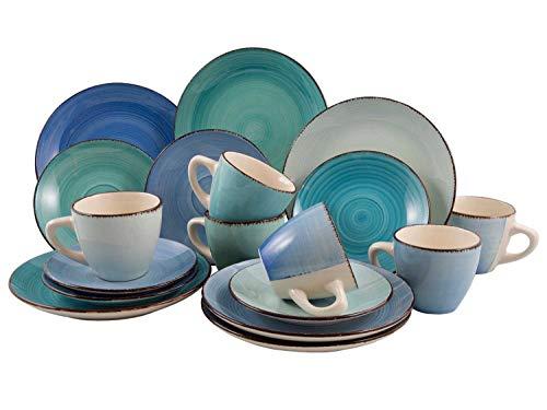 Kaffeeservice Kaffeegeschirr Geschirrset   18-TLG. (6 Personen)   handbemaltes Steinzeug   Blau